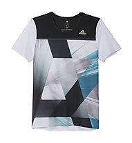 Adidas Adizero T-shirt running, White/Shock Green