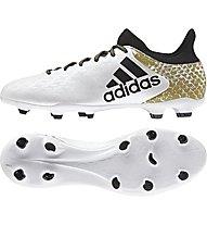 Adidas X 16.3 FG - scarpe da calcio terreni compatti, White/Gold