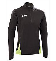 Asics Sweat Javier maglia running donna, Black/Light Green