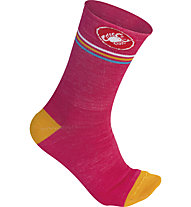 Castelli Atelier Sock - calze bici donna, Rasberry