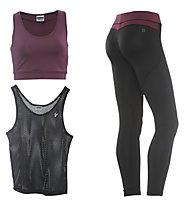 Freddy Fitness-Komplet: Pant + Shirt + Top, Black/Dark Red