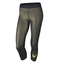 Nike Women Pro Cool Gold Capri - pantaloni Capri da ginnastica donna, Black/Metallic Gold