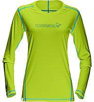 Norrona /29 tech maglia a manica lunga trekking donna, Birch Green/Cyantastic