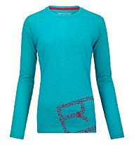 Ortovox 185 Equipment Logo Long Sleeve maglia manica lunga merino donna, Aqua
