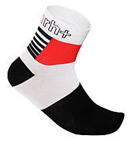 rh+ Calzini bici Zeta Sock 9 cm, White/Black/Red