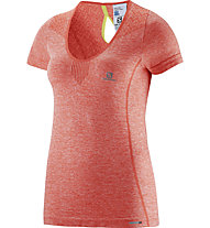 Salomon Elevate Seamless Tee W T-Shirt running donna, Coral Punch