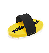 Toko Base Brush oval Nylon with Strap - spazzola per rimozione sciolina, Yellow/Black